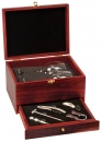 Rosewood Finish 5 Piece Wine Set w/ 2 Wine Glasses